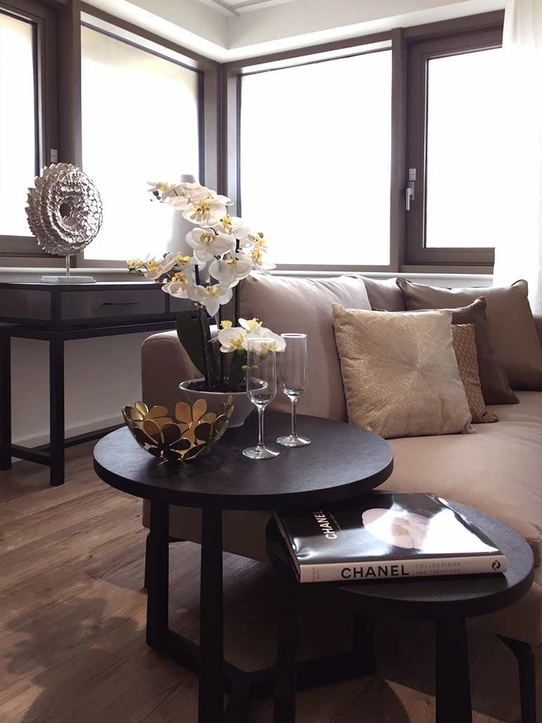 Contemporary Show Flat Living Room Space: Coffee Table Decoration