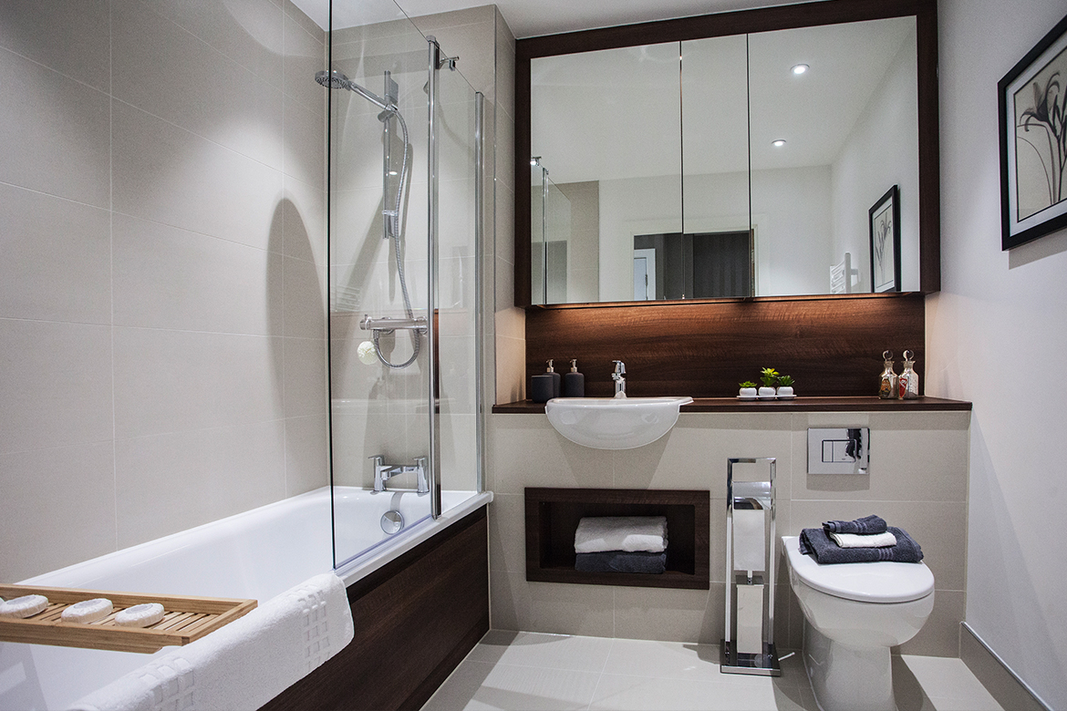 Clean and white bathroom intior design