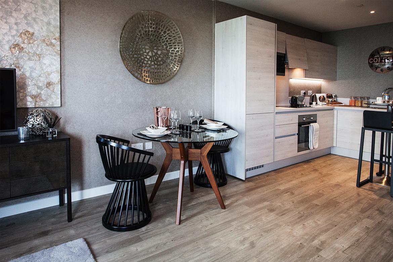 Unique furniture in a breakfast nook for Show Flat interior design