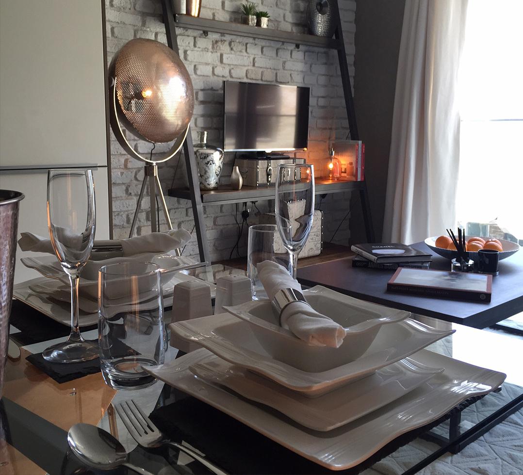 Dining set for show flat interior design