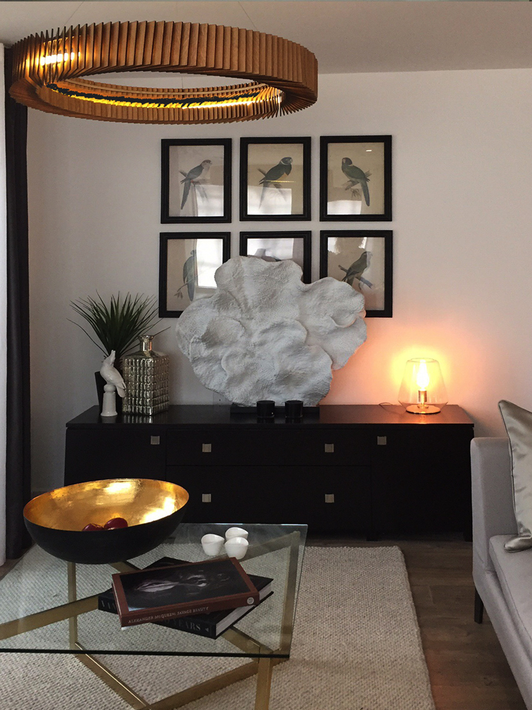 Living Area Design and Coffee Table Accents for Show Flats