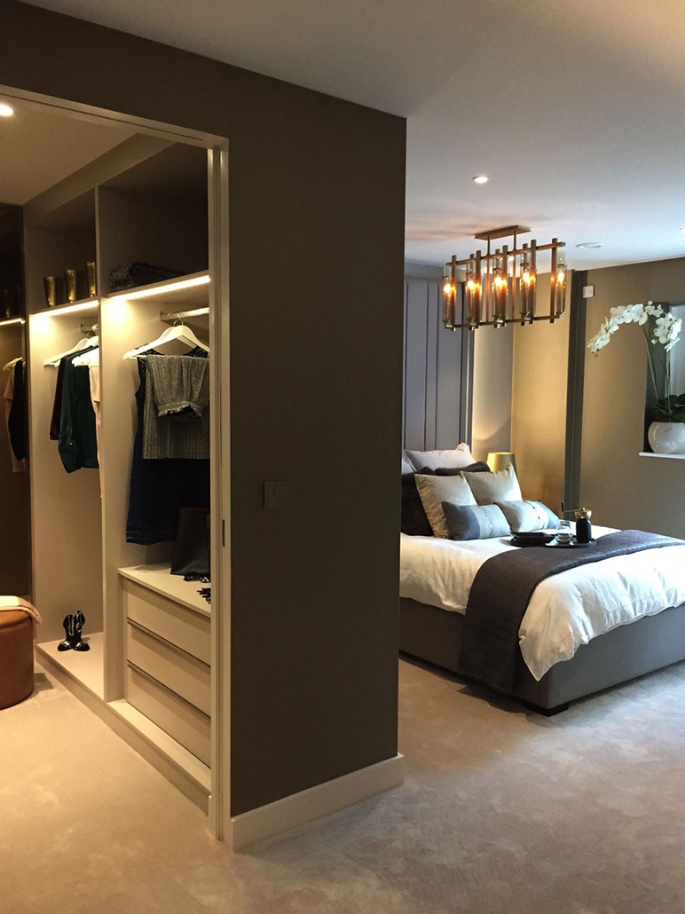 Walk in wardrobes and interesting lighting give show flats a unique and welcoming flair
