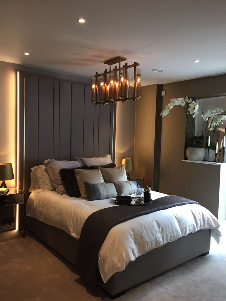 Modern Grey Bedroom Design With Metallic Accents   Show Flat Interior Design  Examples