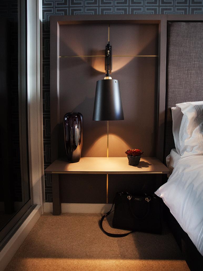 Unique lighting for show flat bedroom: modern interior design