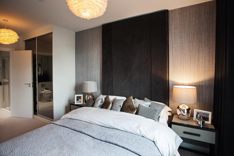 Bedroom interior design for Show Flats: Modern Grey