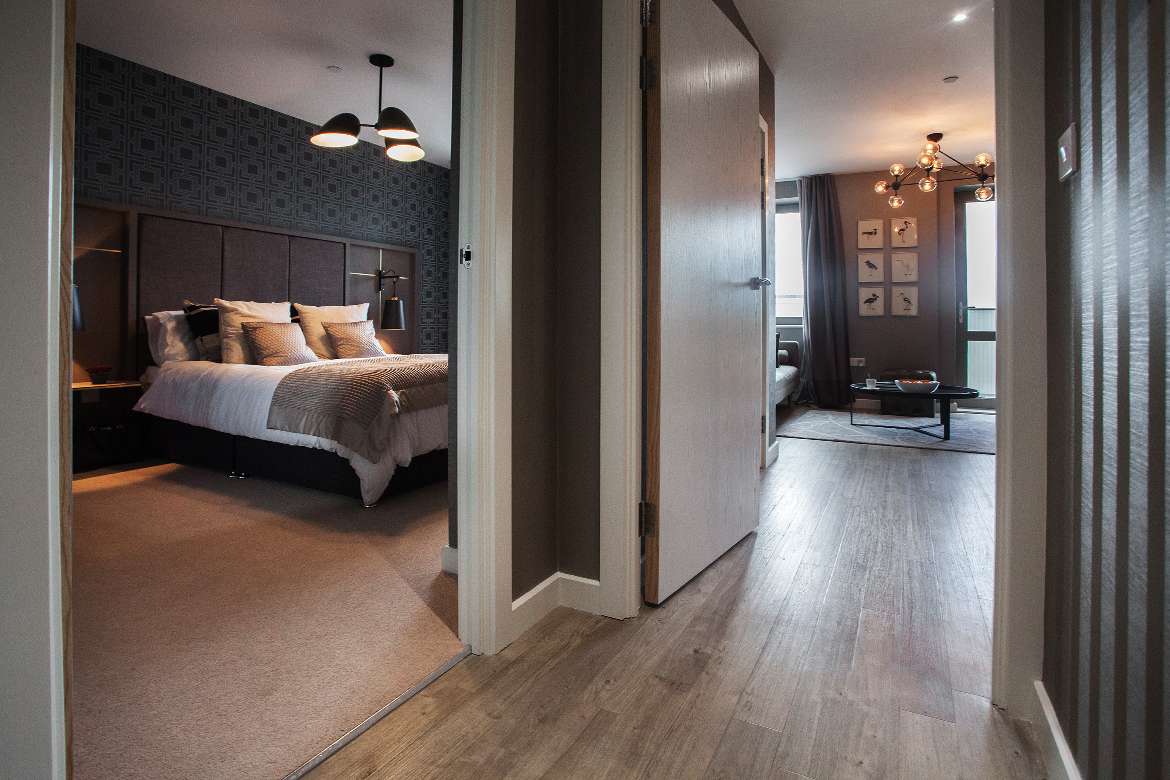 Greys and Metallics Show Flat Design: Bedroom and Living Space